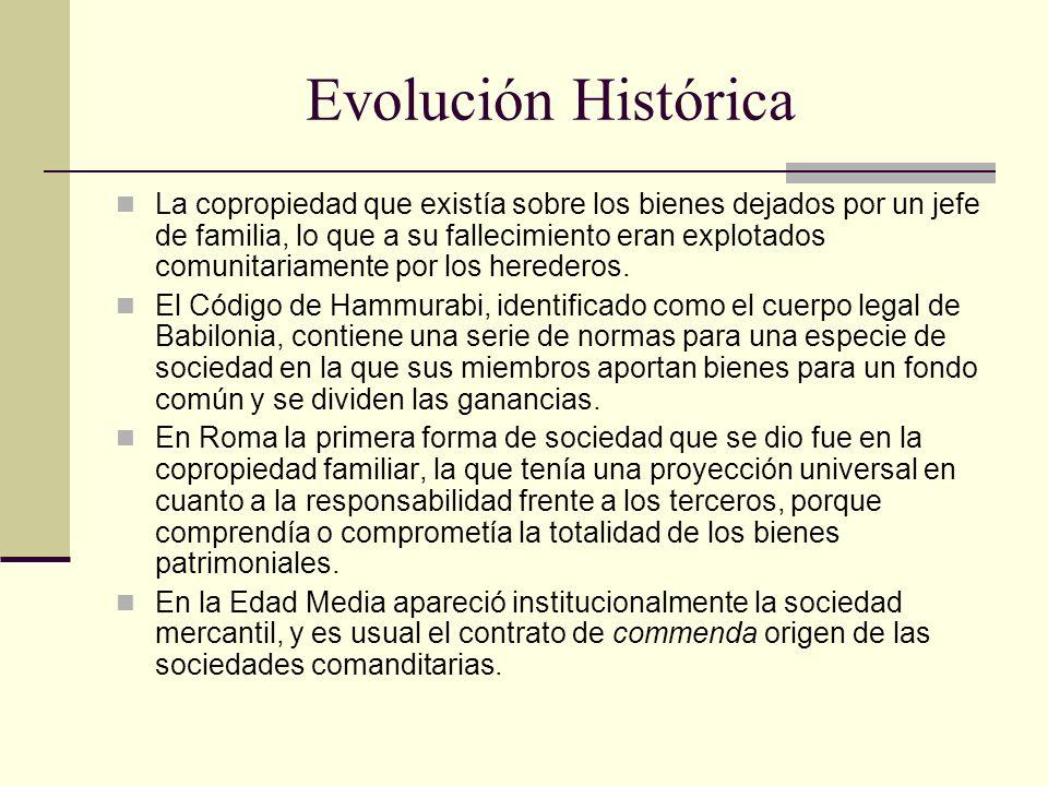 Evolución Histórica La copropiedad que existía sobre los bienes dejados por un jefe de familia, lo que a su fallecimiento eran explotados comunitariam