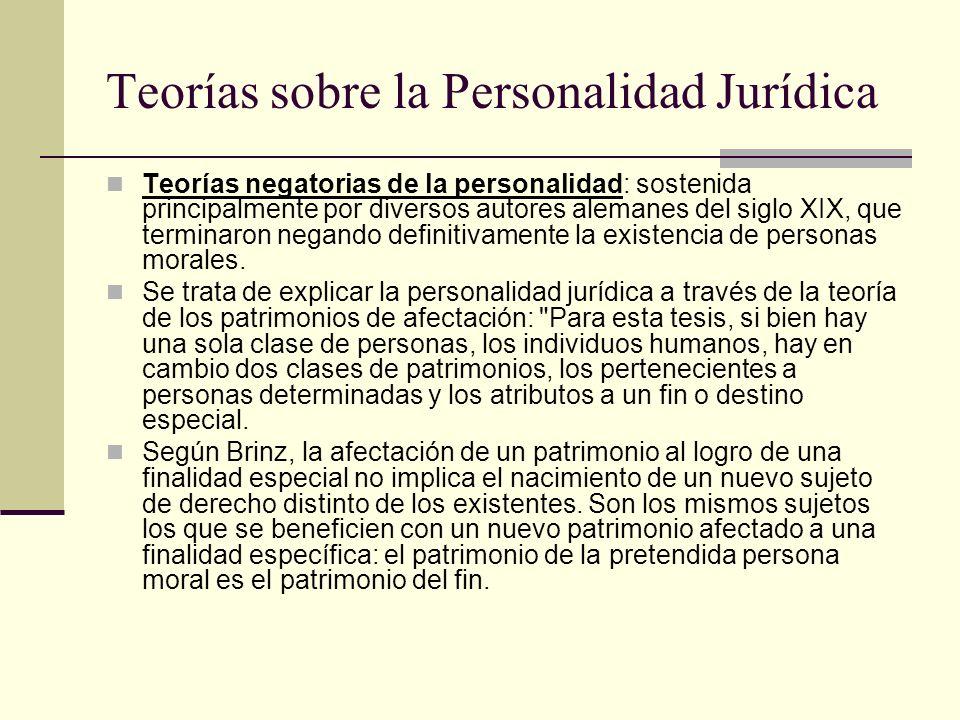 Teorías sobre la Personalidad Jurídica Teorías negatorias de la personalidad: sostenida principalmente por diversos autores alemanes del siglo XIX, qu