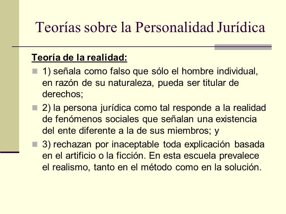 Teorías sobre la Personalidad Jurídica Teoría de la realidad: 1) señala como falso que sólo el hombre individual, en razón de su naturaleza, pueda ser