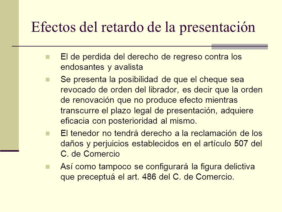 Efectos del retardo de la presentación El de perdida del derecho de regreso contra los endosantes y avalista Se presenta la posibilidad de que el cheq