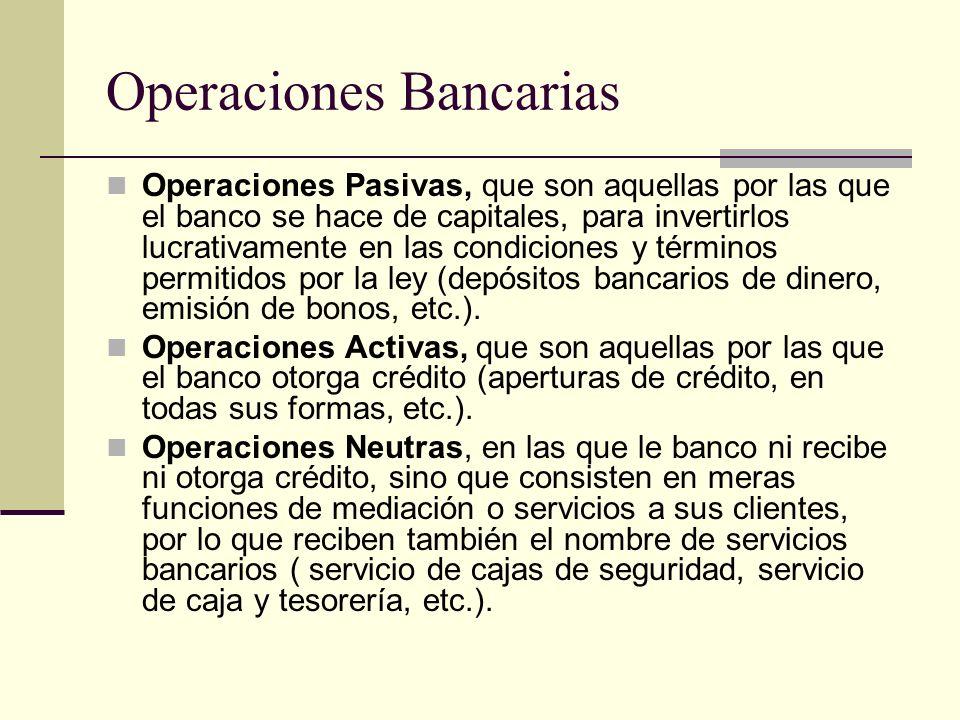 Operaciones Bancarias Operaciones Pasivas, que son aquellas por las que el banco se hace de capitales, para invertirlos lucrativamente en las condicio