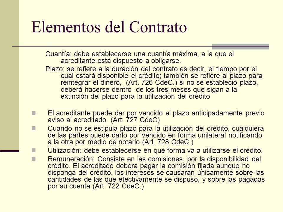 Elementos del Contrato Cuantía: debe establecerse una cuantía máxima, a la que el acreditante está dispuesto a obligarse. Plazo: se refiere a la durac