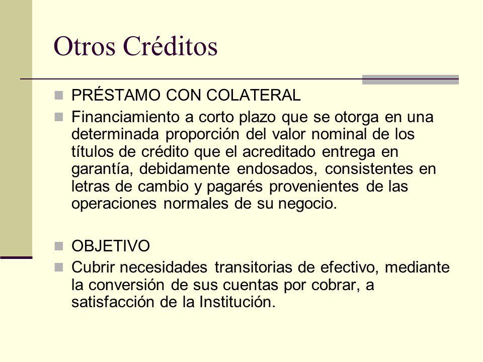 Otros Créditos PRÉSTAMO CON COLATERAL Financiamiento a corto plazo que se otorga en una determinada proporción del valor nominal de los títulos de cré