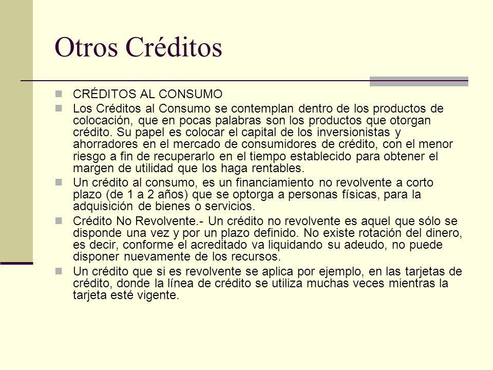 Otros Créditos CRÉDITOS AL CONSUMO Los Créditos al Consumo se contemplan dentro de los productos de colocación, que en pocas palabras son los producto