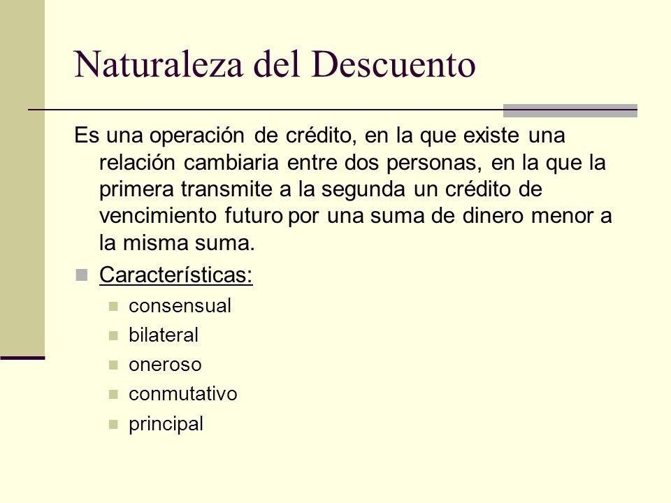 Naturaleza del Descuento Es una operación de crédito, en la que existe una relación cambiaria entre dos personas, en la que la primera transmite a la