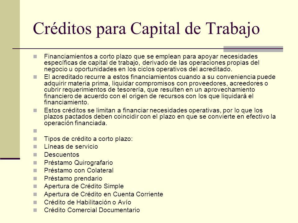 Créditos para Capital de Trabajo Financiamientos a corto plazo que se emplean para apoyar necesidades específicas de capital de trabajo, derivado de l
