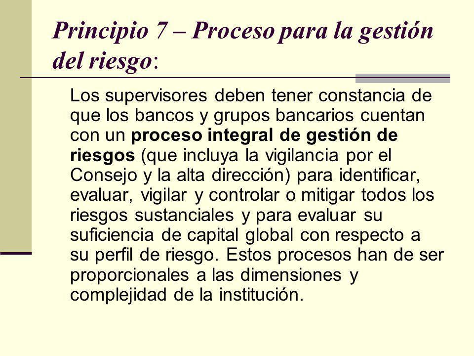 Principio 7 – Proceso para la gestión del riesgo: Los supervisores deben tener constancia de que los bancos y grupos bancarios cuentan con un proceso