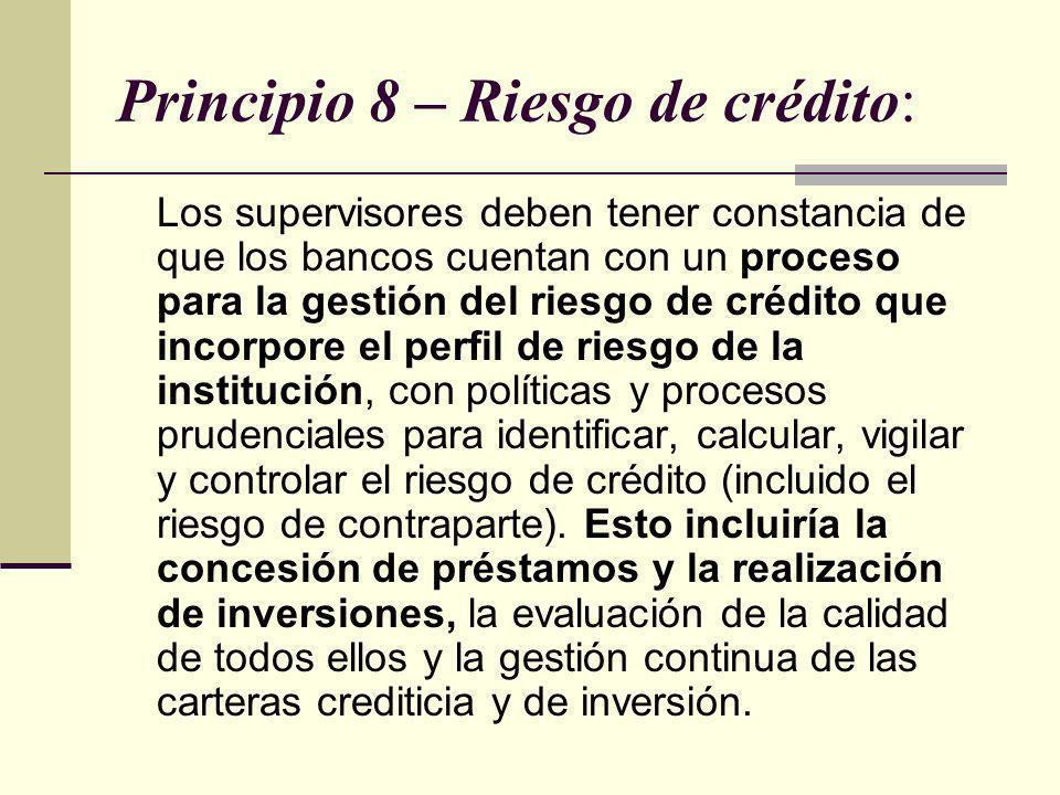 Principio 8 – Riesgo de crédito: Los supervisores deben tener constancia de que los bancos cuentan con un proceso para la gestión del riesgo de crédit