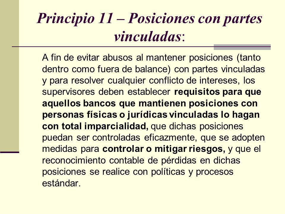 Principio 11 – Posiciones con partes vinculadas: A fin de evitar abusos al mantener posiciones (tanto dentro como fuera de balance) con partes vincula