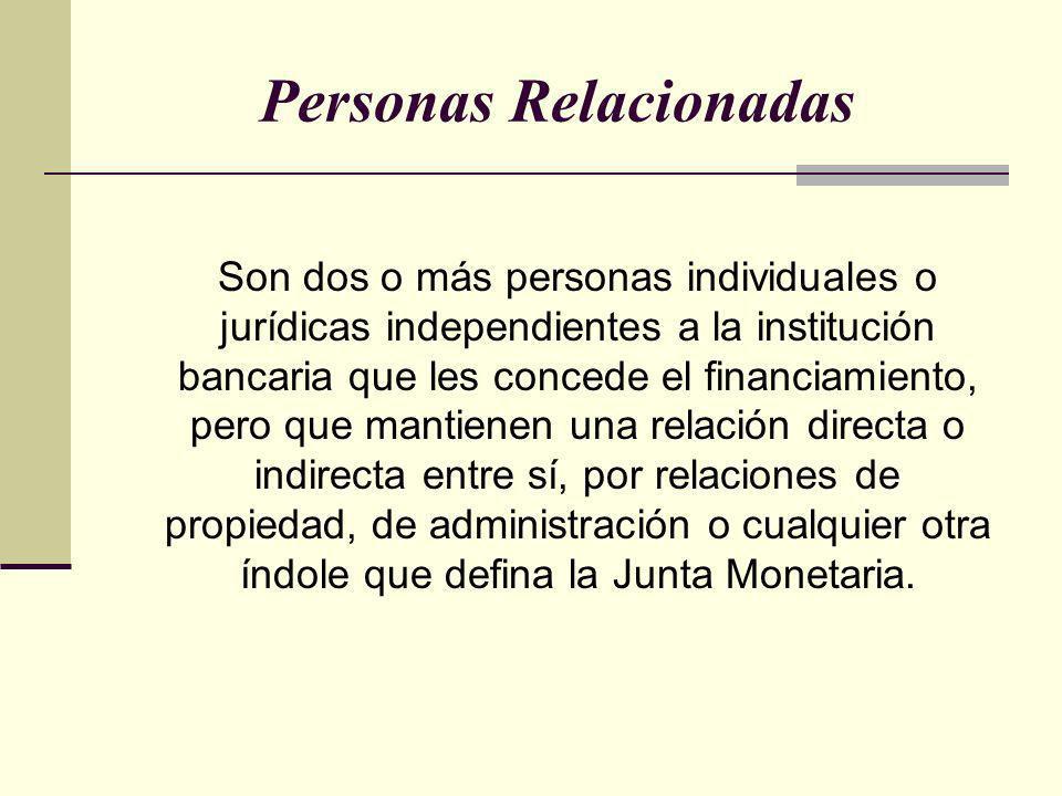 Personas Relacionadas Son dos o más personas individuales o jurídicas independientes a la institución bancaria que les concede el financiamiento, pero