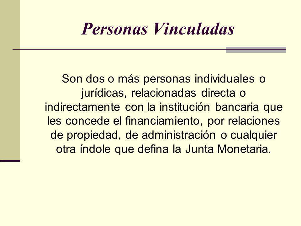 Personas Vinculadas Son dos o más personas individuales o jurídicas, relacionadas directa o indirectamente con la institución bancaria que les concede