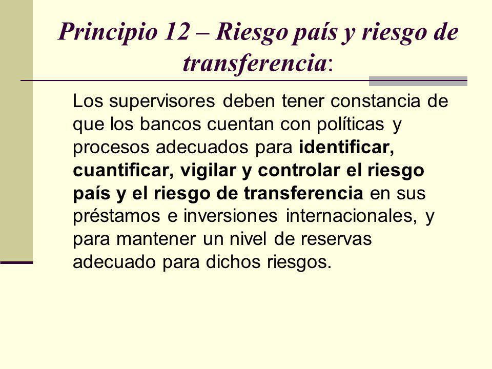 Principio 12 – Riesgo país y riesgo de transferencia: Los supervisores deben tener constancia de que los bancos cuentan con políticas y procesos adecu