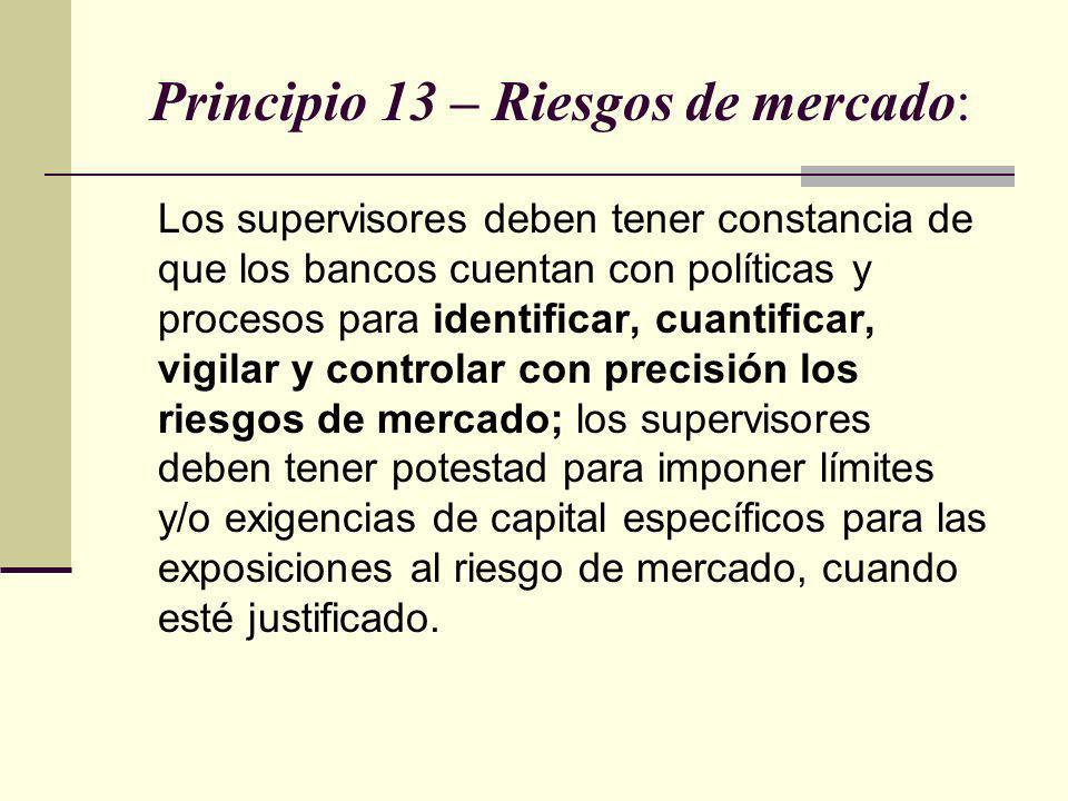 Principio 13 – Riesgos de mercado: Los supervisores deben tener constancia de que los bancos cuentan con políticas y procesos para identificar, cuanti