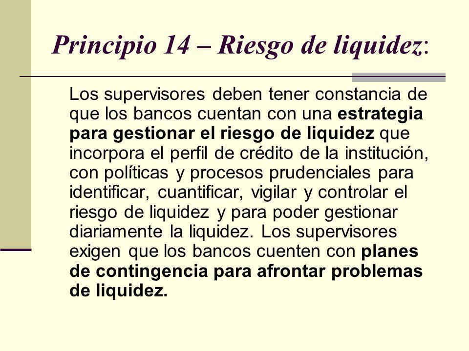 Principio 14 – Riesgo de liquidez: Los supervisores deben tener constancia de que los bancos cuentan con una estrategia para gestionar el riesgo de li