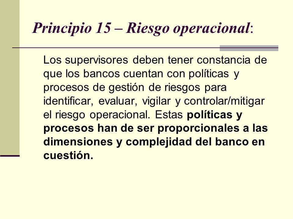 Principio 15 – Riesgo operacional: Los supervisores deben tener constancia de que los bancos cuentan con políticas y procesos de gestión de riesgos pa