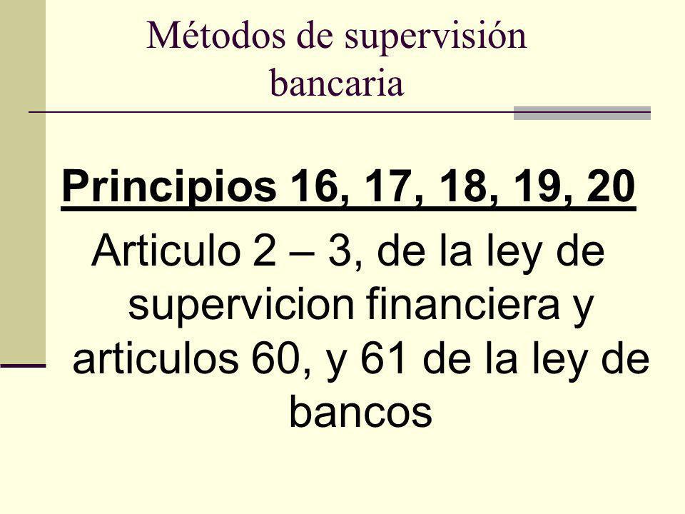 Métodos de supervisión bancaria Principios 16, 17, 18, 19, 20 Articulo 2 – 3, de la ley de supervicion financiera y articulos 60, y 61 de la ley de ba