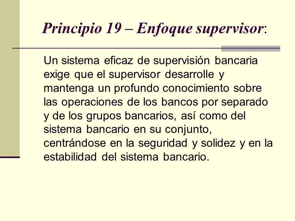 Principio 19 – Enfoque supervisor: Un sistema eficaz de supervisión bancaria exige que el supervisor desarrolle y mantenga un profundo conocimiento so
