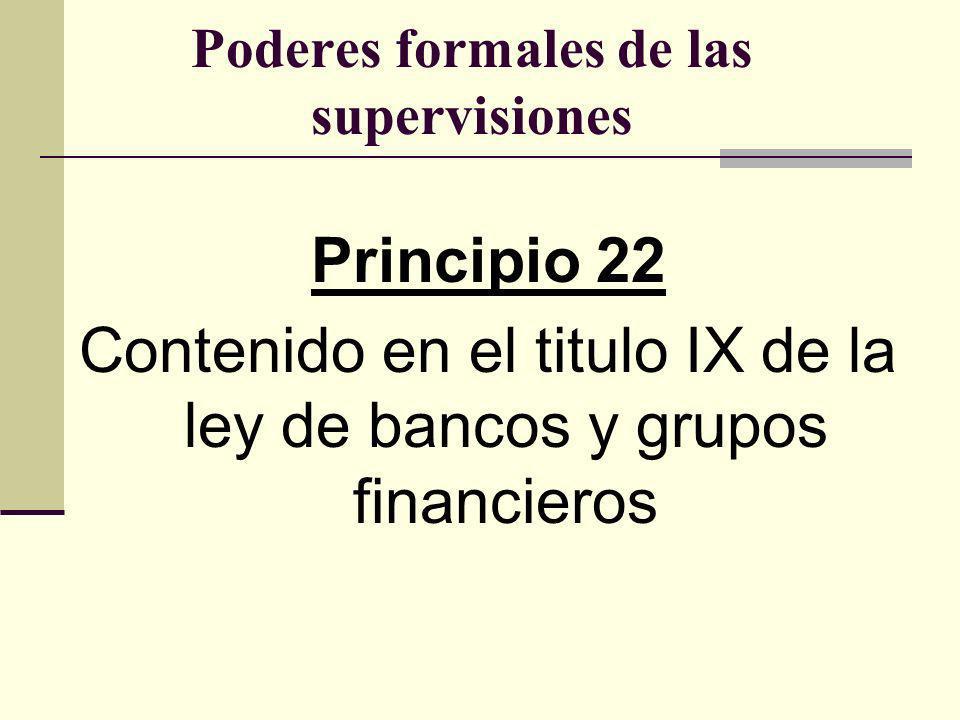 Poderes formales de las supervisiones Principio 22 Contenido en el titulo IX de la ley de bancos y grupos financieros