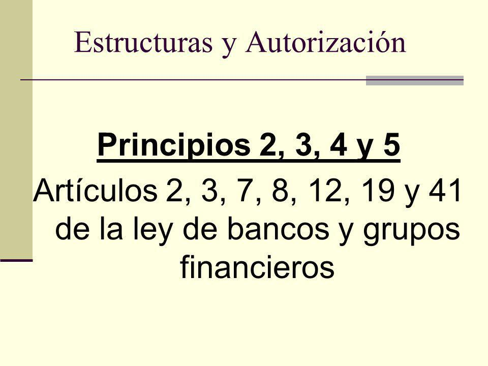 Estructuras y Autorización Principios 2, 3, 4 y 5 Artículos 2, 3, 7, 8, 12, 19 y 41 de la ley de bancos y grupos financieros