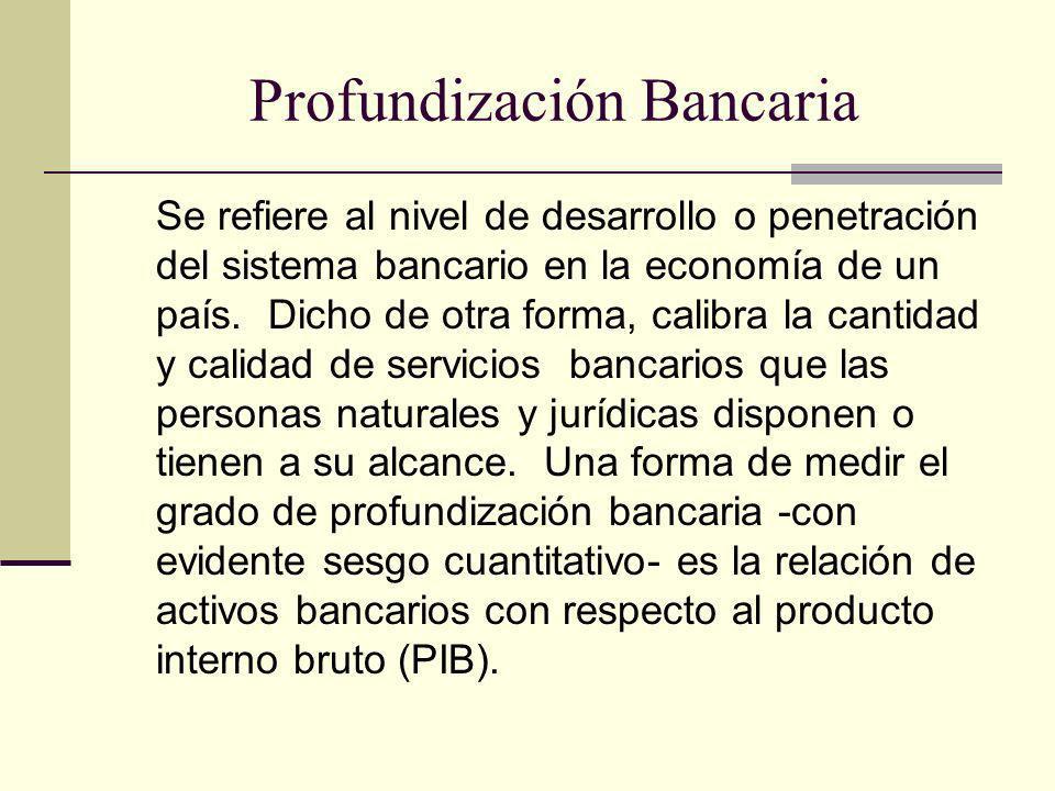 Profundización Bancaria Se refiere al nivel de desarrollo o penetración del sistema bancario en la economía de un país. Dicho de otra forma, calibra l