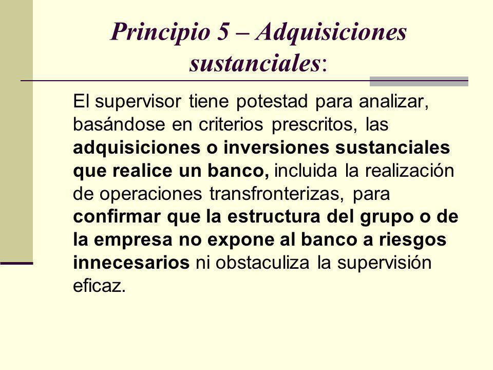 Principio 5 – Adquisiciones sustanciales: El supervisor tiene potestad para analizar, basándose en criterios prescritos, las adquisiciones o inversion