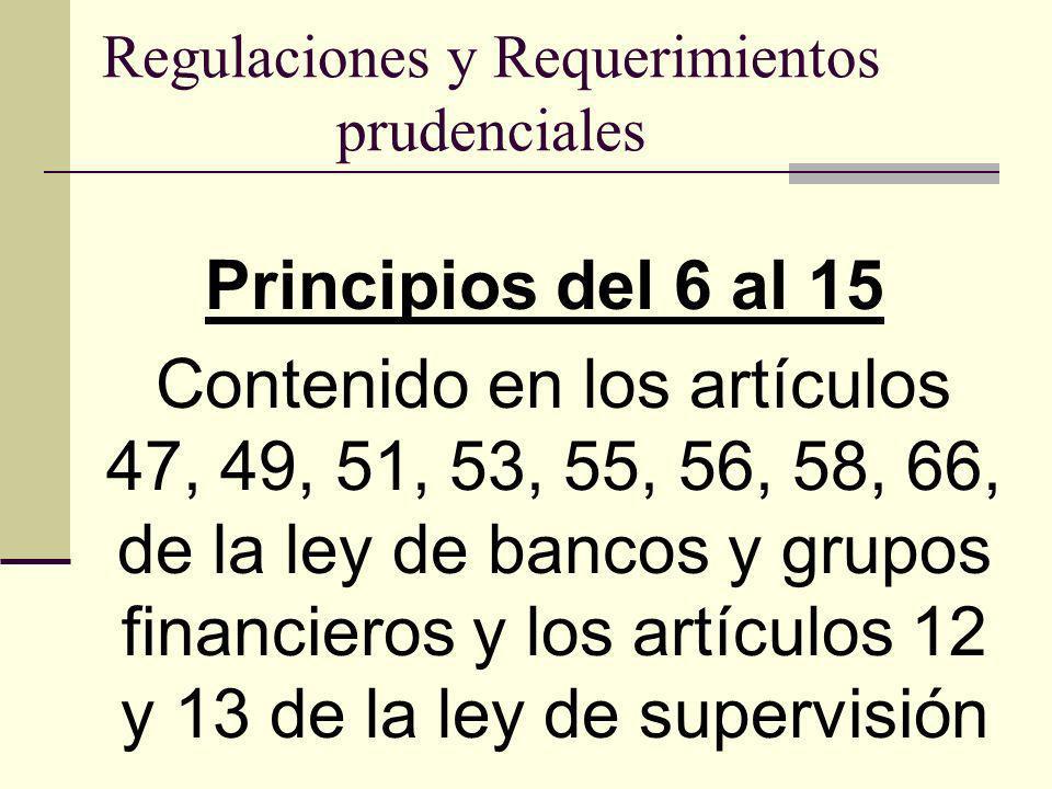 Regulaciones y Requerimientos prudenciales Principios del 6 al 15 Contenido en los artículos 47, 49, 51, 53, 55, 56, 58, 66, de la ley de bancos y gru