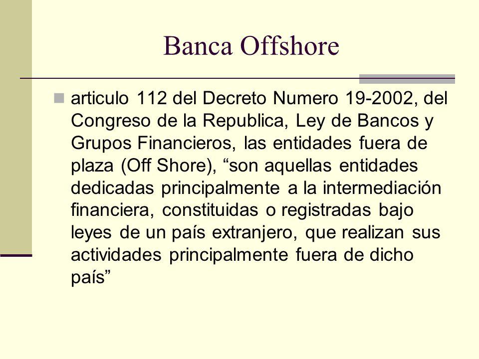 Banca Offshore articulo 112 del Decreto Numero 19-2002, del Congreso de la Republica, Ley de Bancos y Grupos Financieros, las entidades fuera de plaza