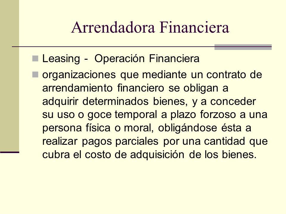 Arrendadora Financiera Leasing - Operación Financiera organizaciones que mediante un contrato de arrendamiento financiero se obligan a adquirir determ