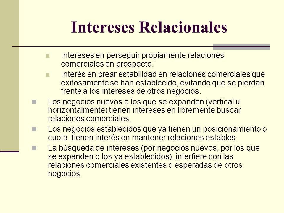 Intereses Relacionales Intereses en perseguir propiamente relaciones comerciales en prospecto. Interés en crear estabilidad en relaciones comerciales