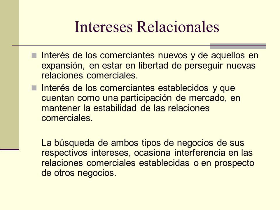 Intereses Relacionales Interés de los comerciantes nuevos y de aquellos en expansión, en estar en libertad de perseguir nuevas relaciones comerciales.