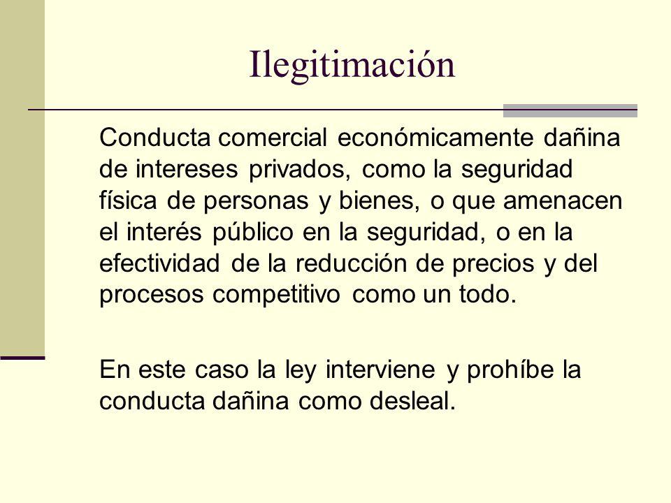 Ilegitimación Conducta comercial económicamente dañina de intereses privados, como la seguridad física de personas y bienes, o que amenacen el interés