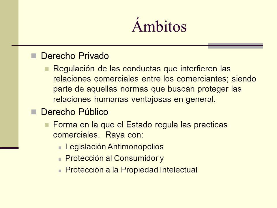 Ámbitos Derecho Privado Regulación de las conductas que interfieren las relaciones comerciales entre los comerciantes; siendo parte de aquellas normas