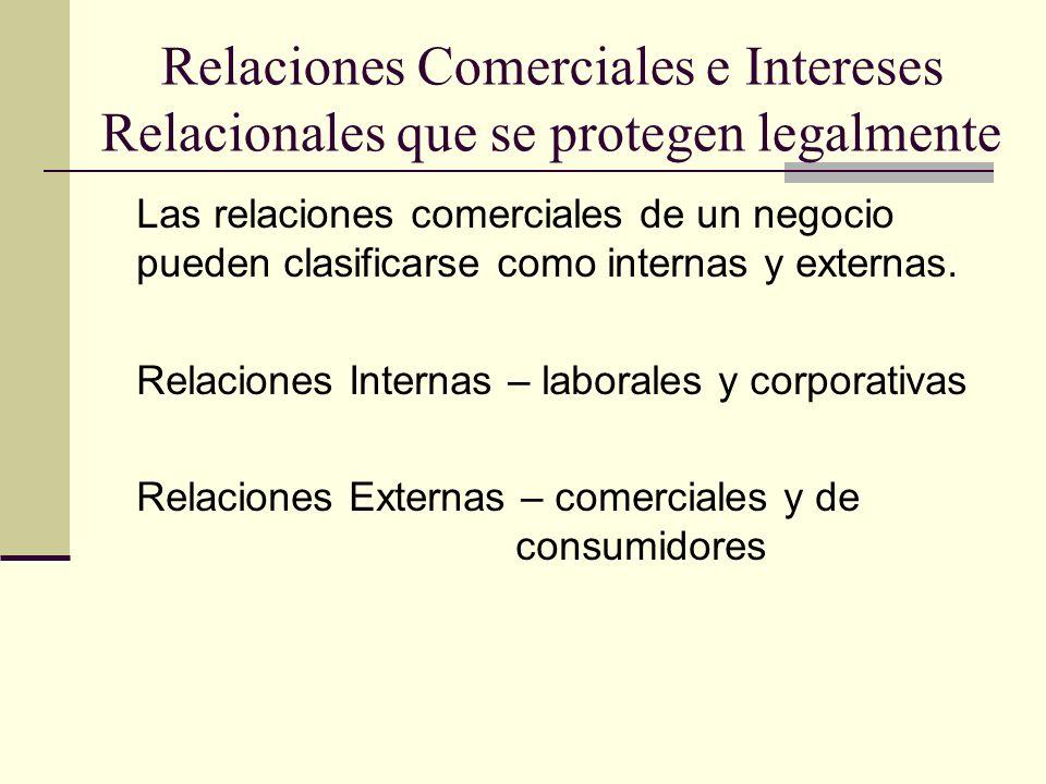 Relaciones Comerciales e Intereses Relacionales que se protegen legalmente Las relaciones comerciales de un negocio pueden clasificarse como internas