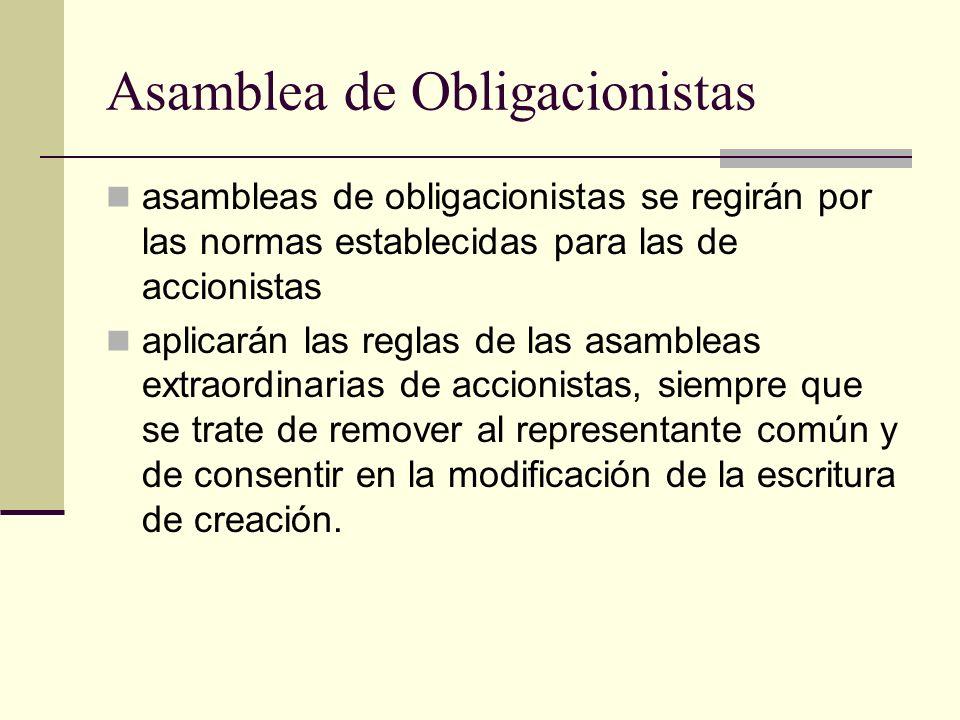 Asamblea de Obligacionistas asambleas de obligacionistas se regirán por las normas establecidas para las de accionistas aplicarán las reglas de las as