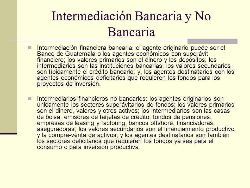 Intermediación Bancaria y No Bancaria Intermediación financiera bancaria: el agente originario puede ser el Banco de Guatemala o los agentes económico