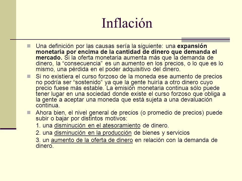 Inflación Una definición por las causas sería la siguiente: una expansión monetaria por encima de la cantidad de dinero que demanda el mercado. Si la