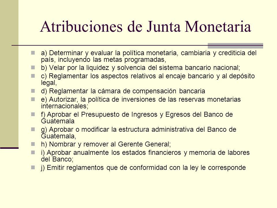Atribuciones de Junta Monetaria a) Determinar y evaluar la política monetaria, cambiaria y crediticia del país, incluyendo las metas programadas, b) V