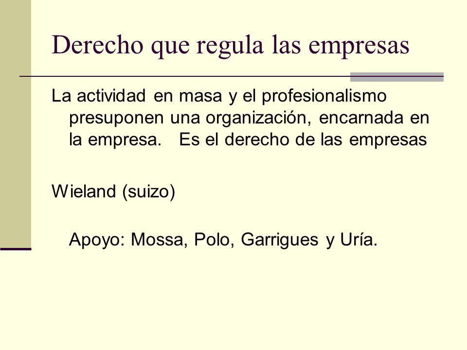 Derecho que regula las empresas La actividad en masa y el profesionalismo presuponen una organización, encarnada en la empresa. Es el derecho de las e