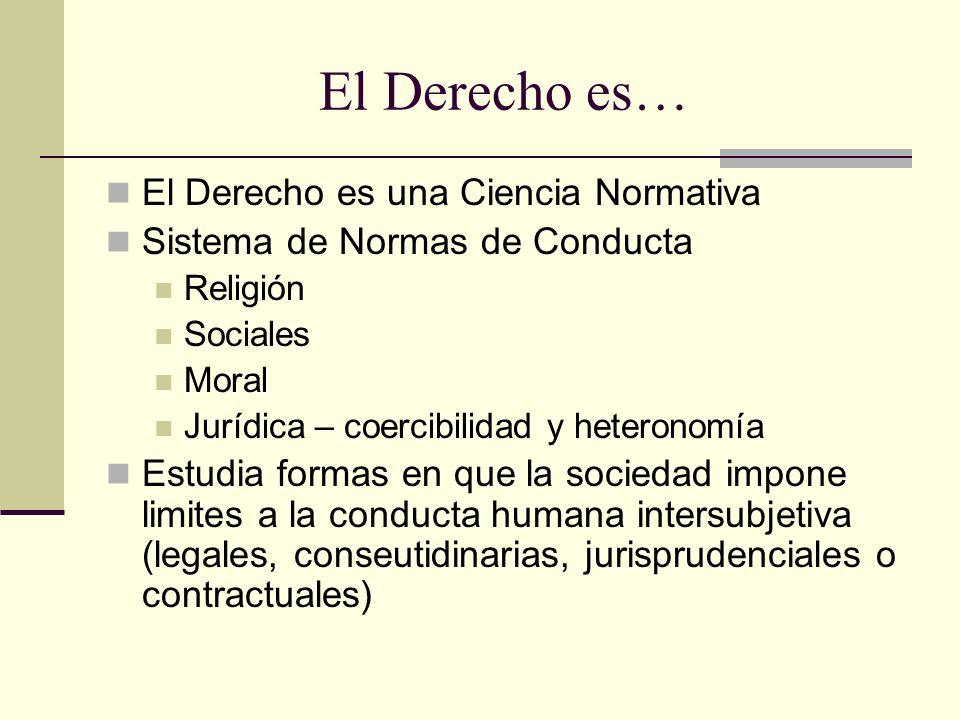 El Derecho es… El Derecho es una Ciencia Normativa Sistema de Normas de Conducta Religión Sociales Moral Jurídica – coercibilidad y heteronomía Estudi