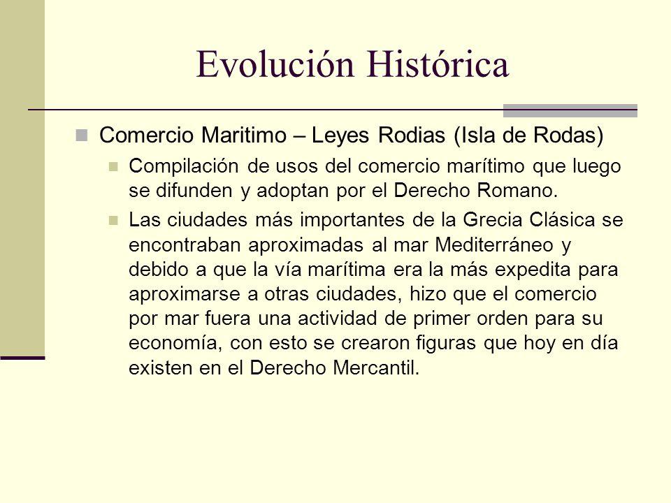 Evolución Histórica Comercio Maritimo – Leyes Rodias (Isla de Rodas) Compilación de usos del comercio marítimo que luego se difunden y adoptan por el