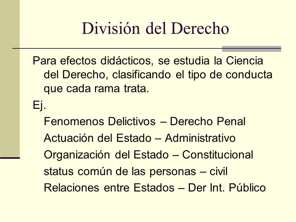 División del Derecho Para efectos didácticos, se estudia la Ciencia del Derecho, clasificando el tipo de conducta que cada rama trata. Ej. Fenomenos D