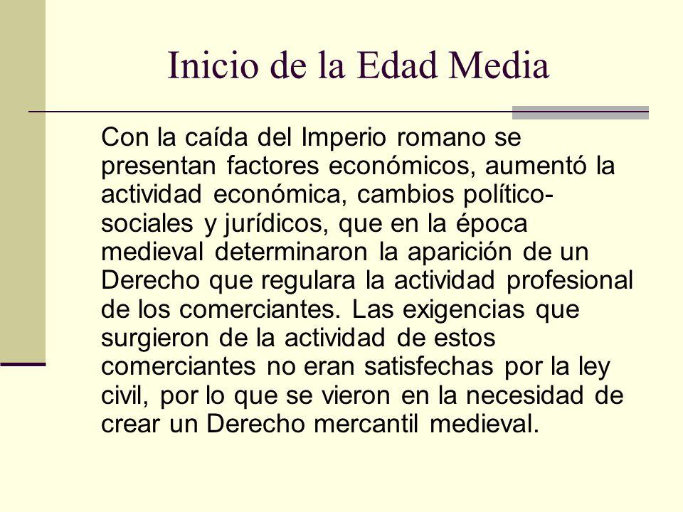 Inicio de la Edad Media Con la caída del Imperio romano se presentan factores económicos, aumentó la actividad económica, cambios político- sociales y