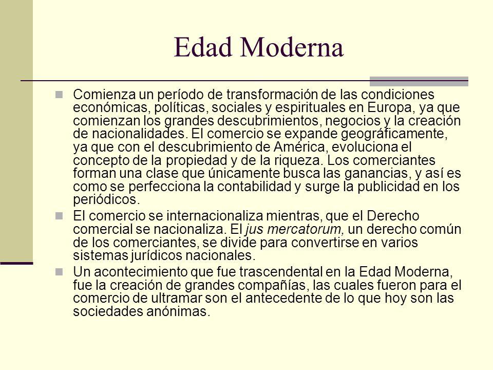 Edad Moderna Comienza un período de transformación de las condiciones económicas, políticas, sociales y espirituales en Europa, ya que comienzan los g