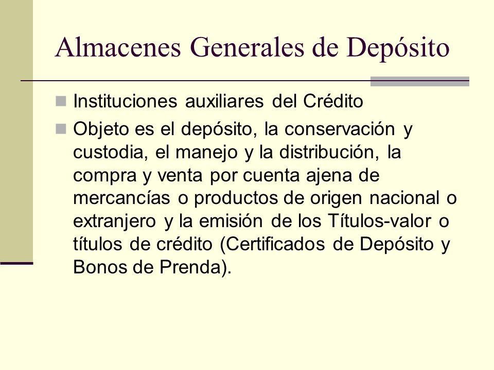 Almacenes Generales de Depósito Instituciones auxiliares del Crédito Objeto es el depósito, la conservación y custodia, el manejo y la distribución, l