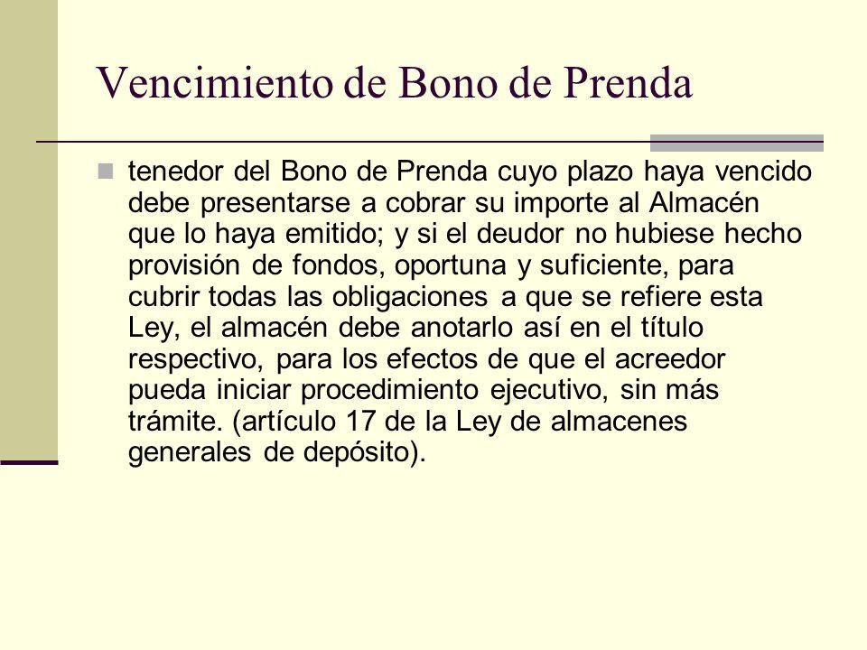 Vencimiento de Bono de Prenda tenedor del Bono de Prenda cuyo plazo haya vencido debe presentarse a cobrar su importe al Almacén que lo haya emitido;