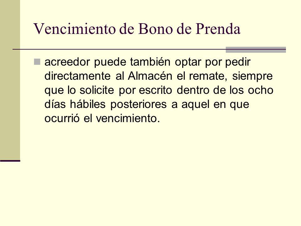 Vencimiento de Bono de Prenda acreedor puede también optar por pedir directamente al Almacén el remate, siempre que lo solicite por escrito dentro de
