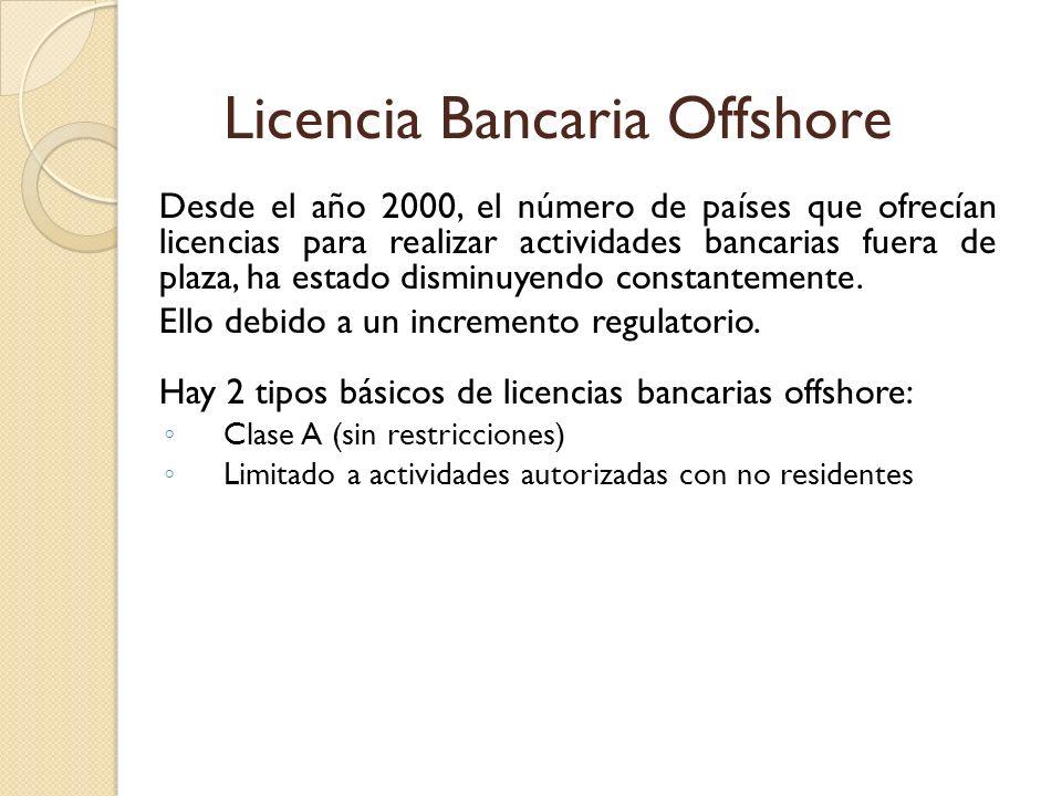 Desde el año 2000, el número de países que ofrecían licencias para realizar actividades bancarias fuera de plaza, ha estado disminuyendo constantement