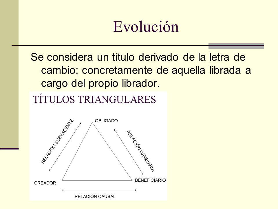 Evolución Se considera un título derivado de la letra de cambio; concretamente de aquella librada a cargo del propio librador.