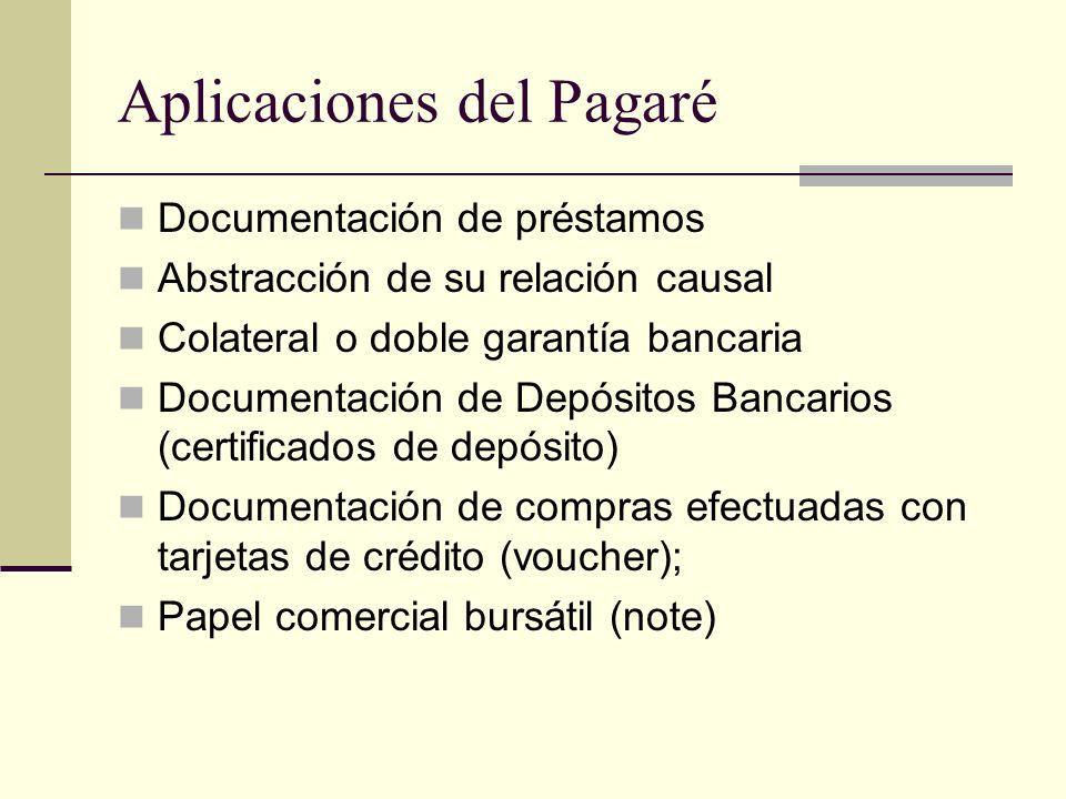 Aplicaciones del Pagaré Documentación de préstamos Abstracción de su relación causal Colateral o doble garantía bancaria Documentación de Depósitos Bancarios (certificados de depósito) Documentación de compras efectuadas con tarjetas de crédito (voucher); Papel comercial bursátil (note)