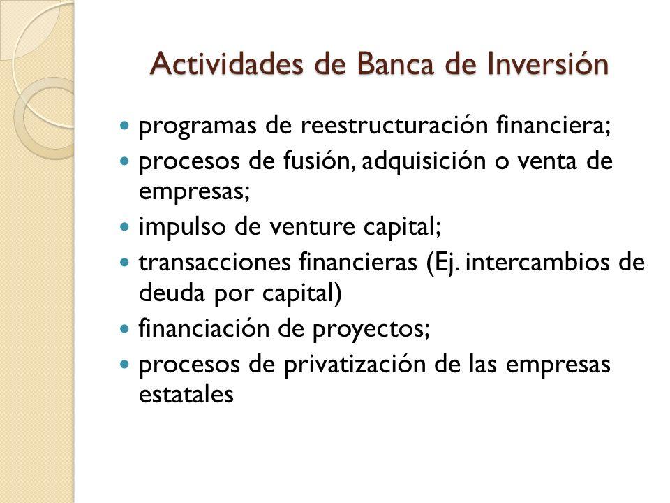 Actividades de Banca de Inversión programas de reestructuración financiera; procesos de fusión, adquisición o venta de empresas; impulso de venture ca
